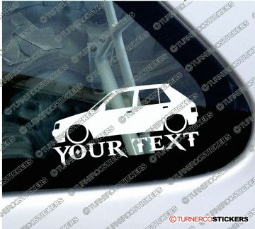 2x Custom YOUR TEXT Lowered car stickers - Peugeot 205 , 5-Door